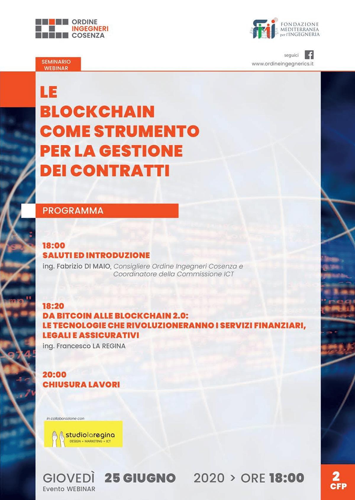 """Studio La Regina - webinar """"Le blockchain come strumento per la gestione dei contratti"""""""
